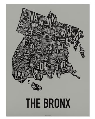 "Bronx New York Neighborhood Screenprint, Grey & Black, 18"" x 24"""