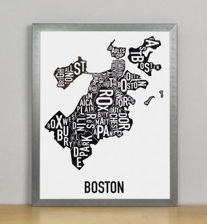 "Framed Boston Typographic Neighborhood Map, 11"" x 14"" in Steel Grey Frame"