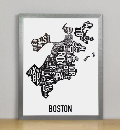 "Framed Boston Typographic Neighborhood Map, 11"" x 14"" in Steel Grey Frame"