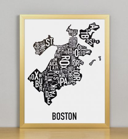 "Framed Boston Typographic Neighborhood Map, 11"" x 14"" in Bronze Frame"