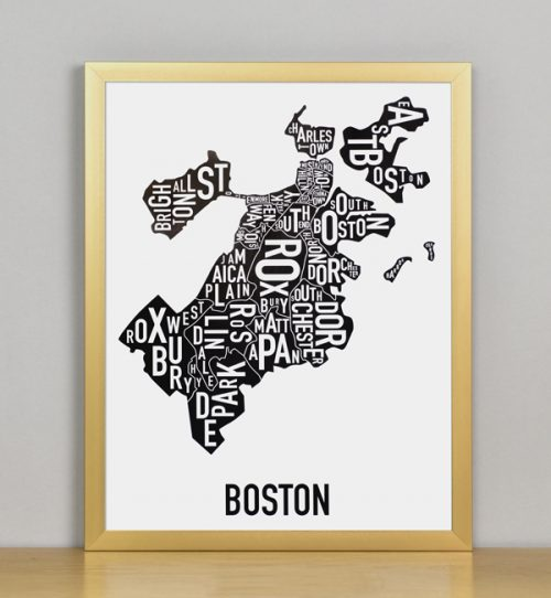 "Framed Boston Typographic Neighborhood Map, 11"" x 14"" in Bronze Frame"
