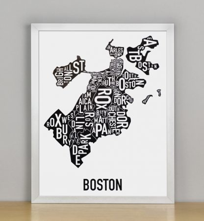 "Framed Boston Typographic Neighborhood Map, 11"" x 14"" in Silver Frame"