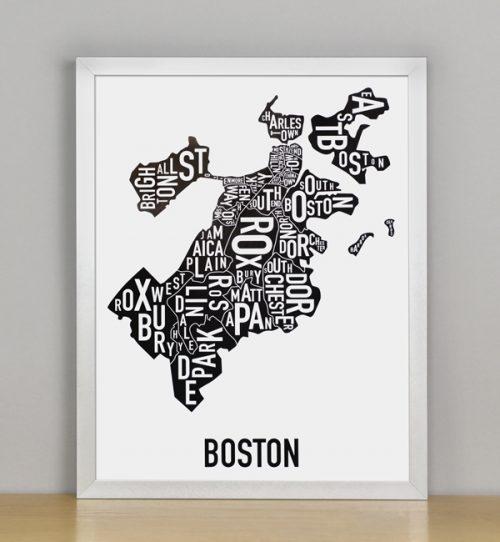 "Framed Boston Typographic Neighborhood Map, 11"" x 14"" in Silver Frame"