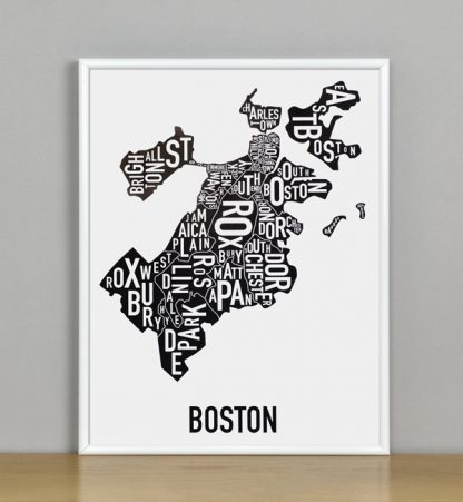 "Framed Boston Typographic Neighborhood Map, 11"" x 14"" in White Metal Frame"