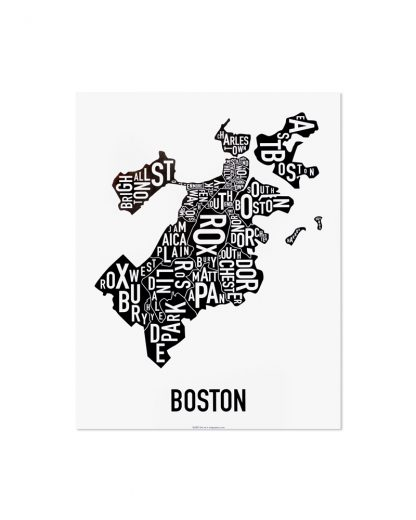 "Boston Neighborhoods Map, Classic B&W, 11"" x 14"""