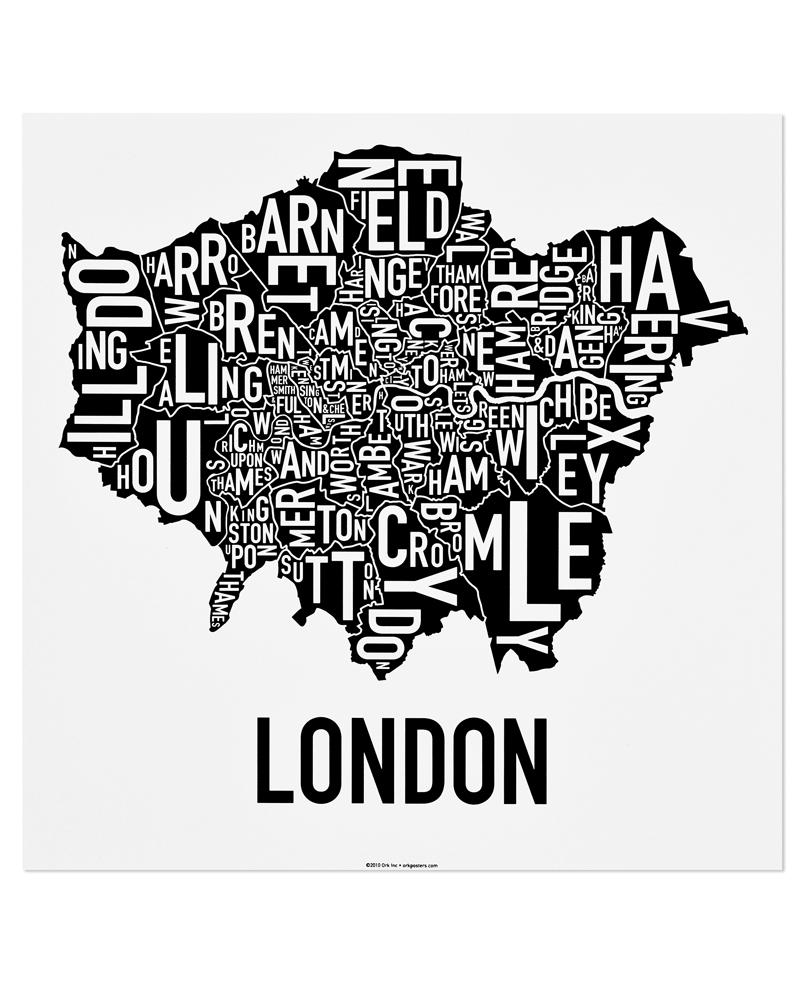Greater london borough map 18″ x 18″ classic black white poster