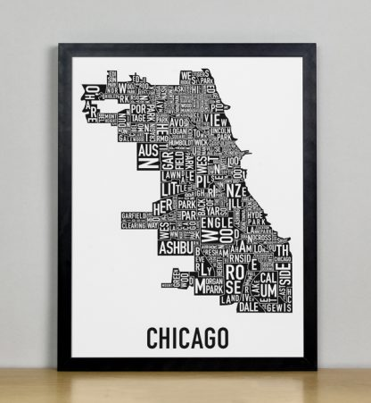 "Framed Chicago Typographic Neighborhood Map Poster, B&W, 11"" x 14"" in Black Frame"