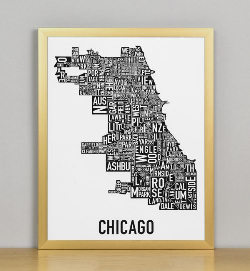 "Framed Chicago Typographic Neighborhood Map Poster, B&W, 11"" x 14"" in Bronze Frame"