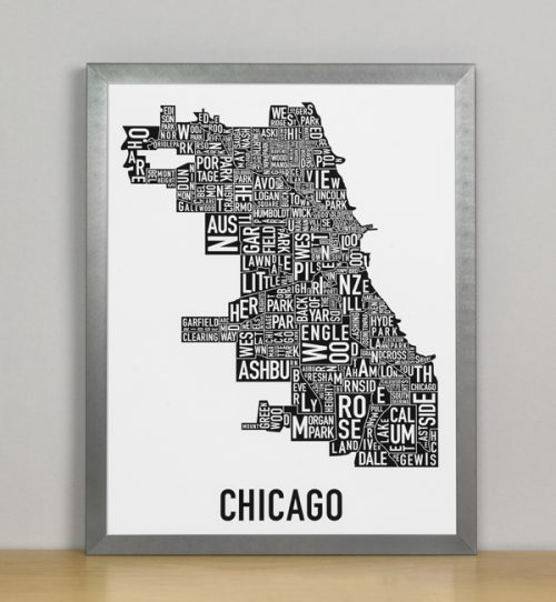 "Framed Chicago Typographic Neighborhood Map Poster, B&W, 11"" x 14"" in Grey Frame"
