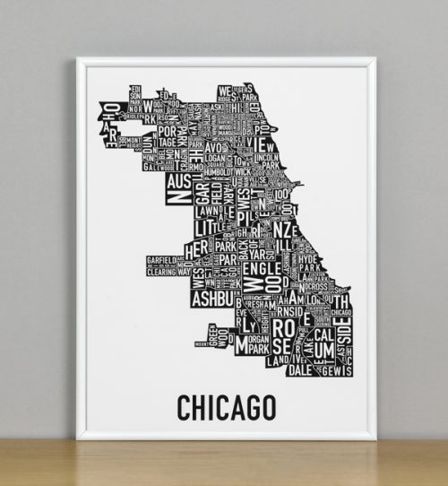 "Framed Chicago Typographic Neighborhood Map Poster, B&W, 11"" x 14"" in White Metal Frame"