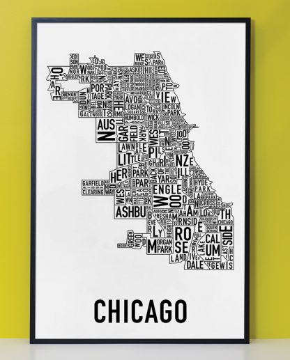 "Framed Chicago Neighborhood Map Poster, Classic B&W, 24"" x 36"" in Black Frame"