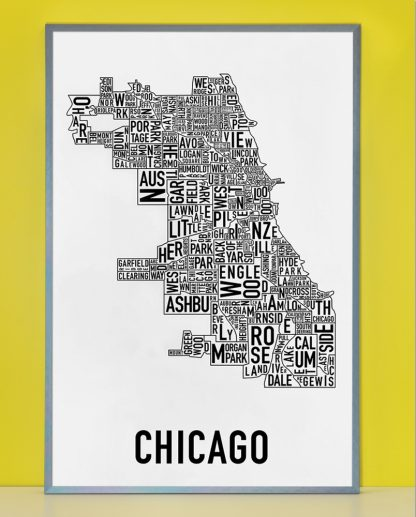 "Framed Chicago Neighborhood Map Poster, Classic B&W, 24"" x 36"" in Steel Grey Frame"