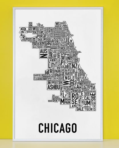 "Framed Chicago Neighborhood Map Poster, Classic B&W, 24"" x 36"" in Silver Frame"