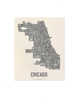 "Chicago Neighborhood Map Screenprint, Ivory & Grey, 11"" x 14"""