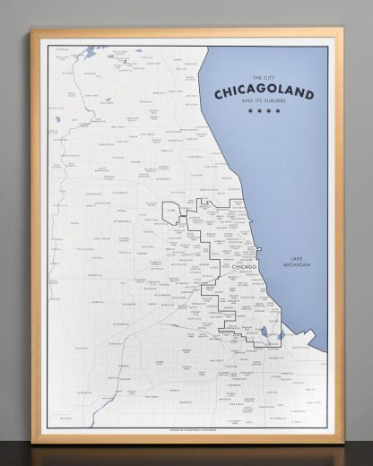 "Framed Chicagoland Map Print by Ork Posters, 18"" x 24"" in Bronze Frame"