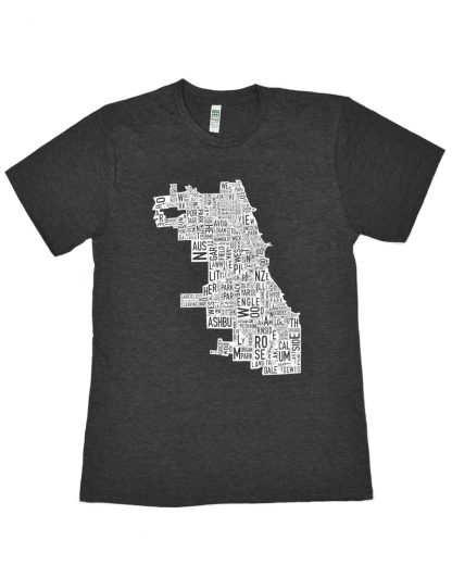 Chicago Neighborhoods T-Shirt, Unisex Fit, Charcoal & White