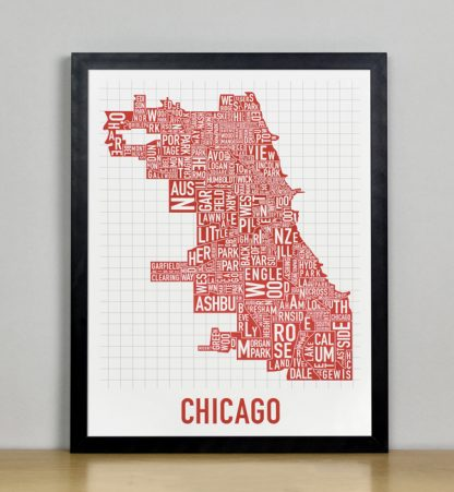 "Framed Chicago Typographic Neighborhood Map Poster, Spicy Red, 11"" x 14"" in Black Frame"