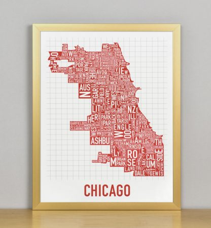 "Framed Chicago Typographic Neighborhood Map Poster, Spicy Red, 11"" x 14"" in Bronze Frame"