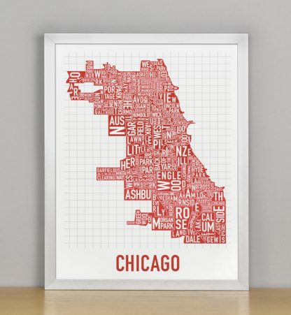 "Framed Chicago Typographic Neighborhood Map Poster, Spicy Red, 11"" x 14"" in Silver Frame"