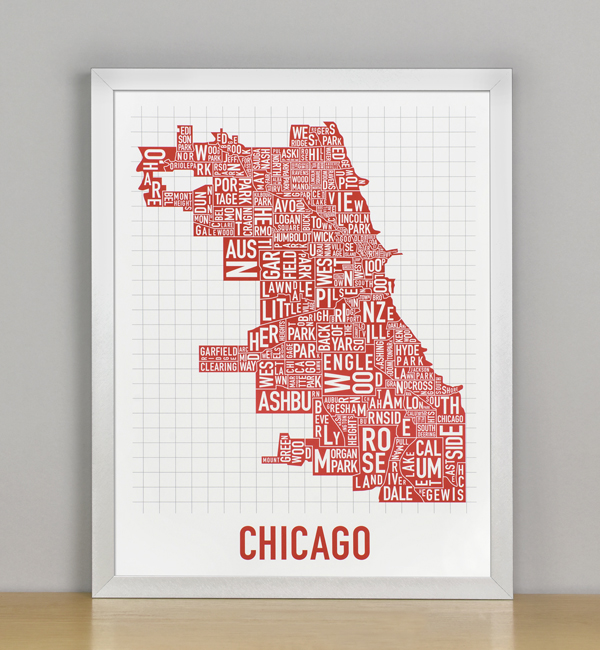 Chicago neighborhood map 11 x 14 spicy red poster framed chicago typographic neighborhood map poster spicy red 11 x 14 in gumiabroncs Choice Image