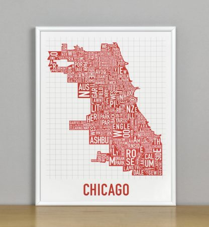 "Framed Chicago Typographic Neighborhood Map Poster, Spicy Red, 11"" x 14"" in White Metal Frame"