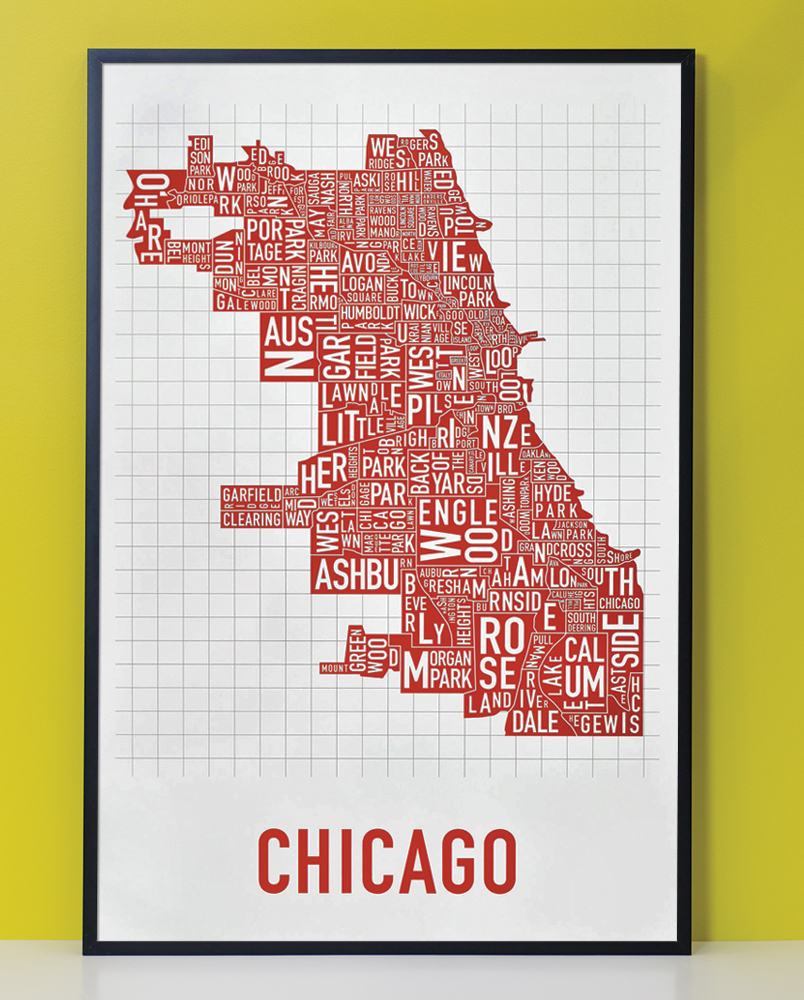 Chicago Neighborhood Map 24 X 36 Spicy Red Poster
