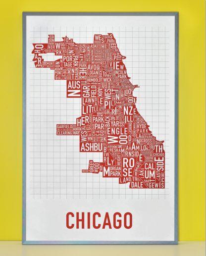 "Framed Chicago Neighborhood Map Poster, White & Red, 24"" x 36"" in Steel Grey Frame"