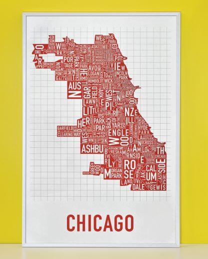 "Framed Chicago Neighborhood Map Poster, White & Red, 24"" x 36"" in Silver Frame"