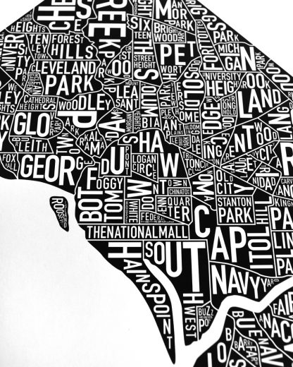 "Washington DC Neighborhood Map Poster, Classic B&W, 11"" x 14"""