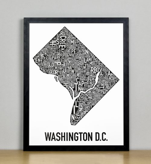 "Framed Washington DC Typographic Neighborhood Map Poster, B&W, 11"" x 14"" in Black Frame"