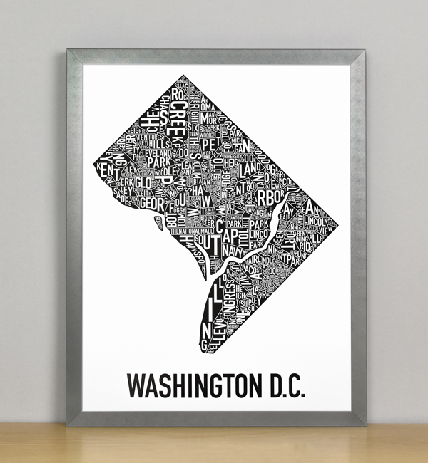 "Framed Washington DC Typographic Neighborhood Map Poster, B&W, 11"" x 14"" in Steel Grey Frame"