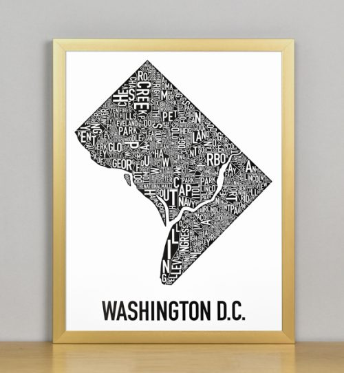 "Framed Washington DC Typographic Neighborhood Map Poster, B&W, 11"" x 14"" in Bronze Frame"