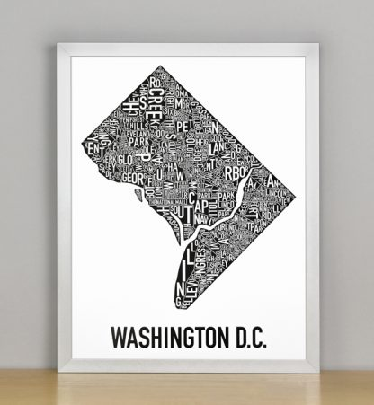 "Framed Washington DC Typographic Neighborhood Map Poster, B&W, 11"" x 14"" in Silver Frame"