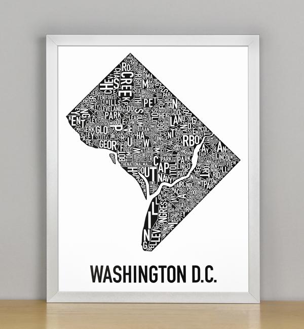"Framed Washington DC Typographic Neighborhood Map Poster, B&W, 11"" x 14"" in Silver Frame"