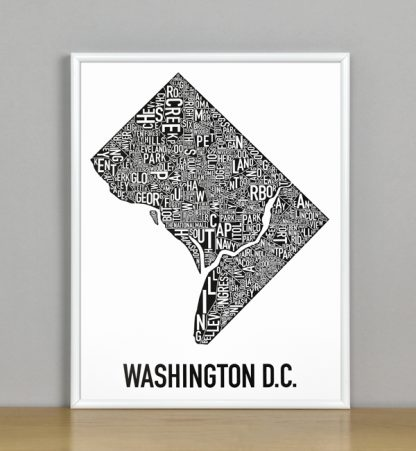 "Framed Washington DC Typographic Neighborhood Map Poster, B&W, 11"" x 14"" in White Metal Frame"