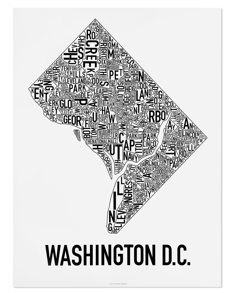 Washington Dc Neighborhood Map 22 X 28 Classic Black White