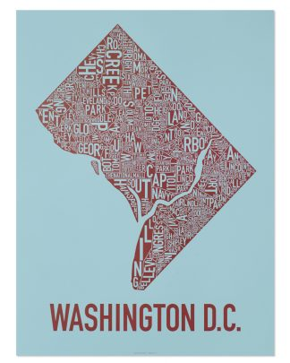 "Washington DC Neighborhood Map Poster, Blue & Red, 22"" x 28"""
