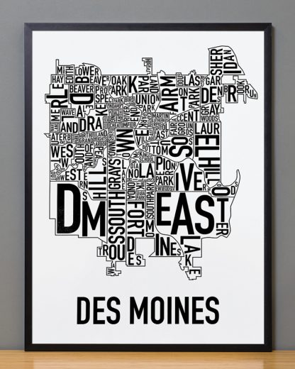 "Framed Des Moines Neighborhood Poster, Classic B&W, 18"" x 24"" in Black Frame"