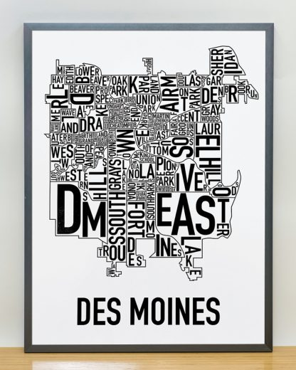 "Framed Des Moines Neighborhood Poster, Classic B&W, 18"" x 24"" in Steel Grey Frame"