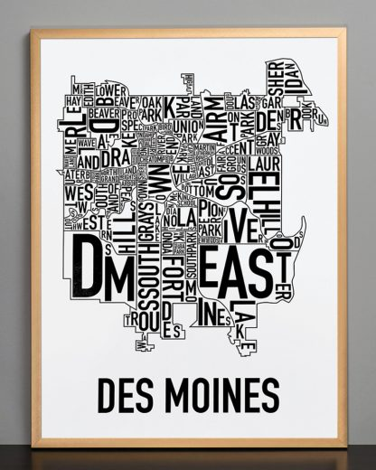 "Framed Des Moines Neighborhood Poster, Classic B&W, 18"" x 24"" in Bronze Frame"