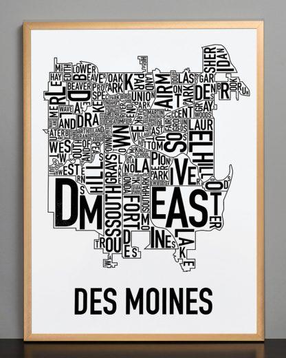 "Framed Des Moines Neighborhood Poster, Classic B&W, 18"" x 24"" in Bronze Frame"