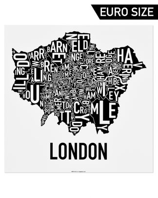 Greater London Borroughs Poster, Classic B&W, 50cm x 50cm