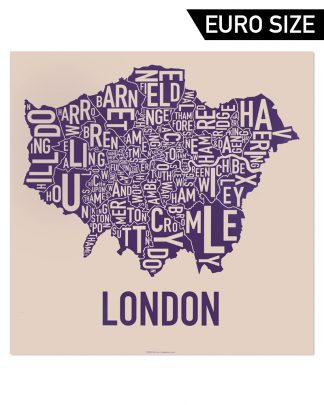 Greater London Borroughs Poster, Cream & Indigo, 50cm x 50cm