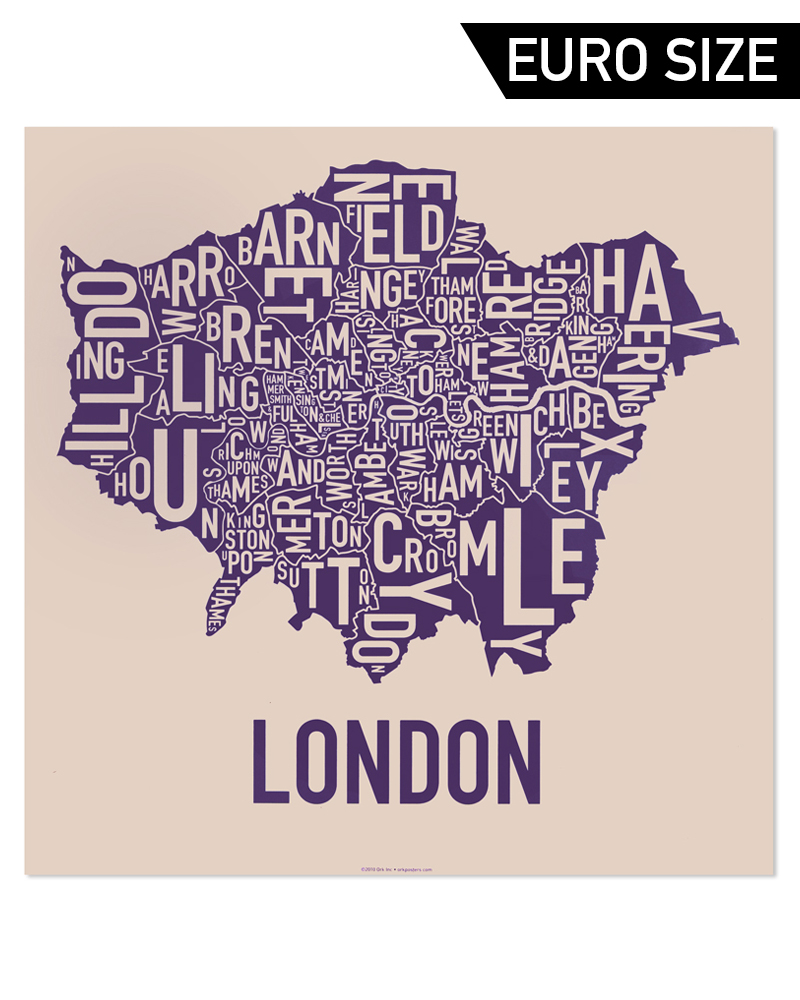 Greater London Borough Map 50cm X 50cm Royal Treatment Poster