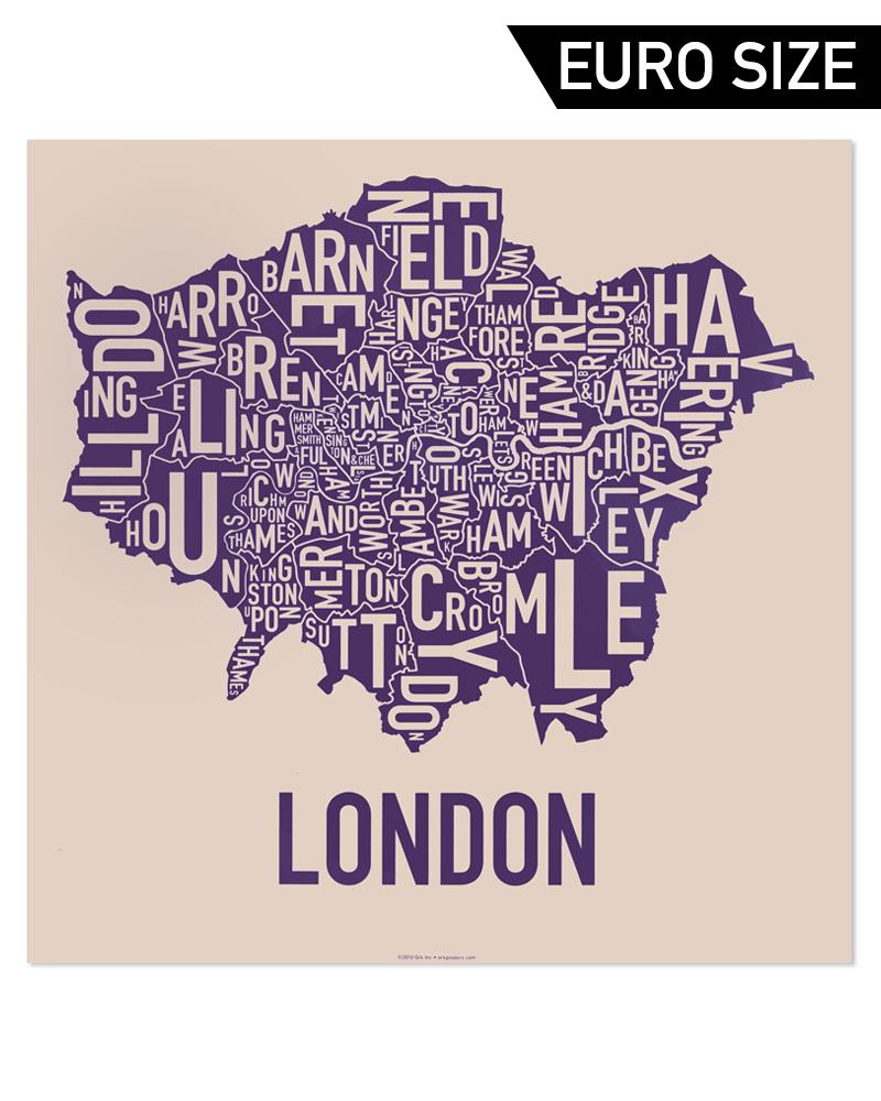 Greater London Borough Map 50cm X 50cm Royal Treatment Poster