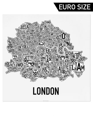 Central London Neighbourhood Poster, Classic B&W, 60cm x 60cm