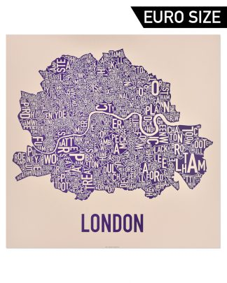 Central London Neighbourhood Poster, Tan & Purple, 60cm x 60cm