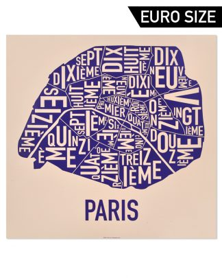 Paris Arrondissements Map, Tan & Purple, 50cm x 50cm