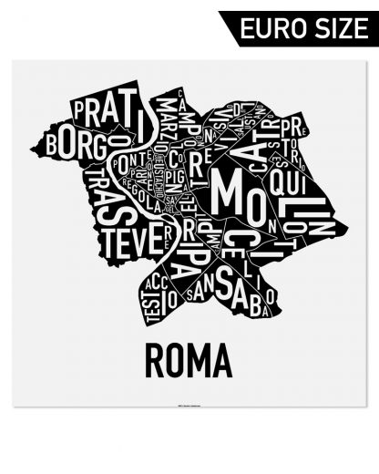 Rome Neighborhood Map, Classic B&W, 50cm x 50cm