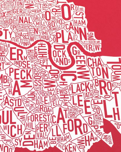 Central London Neighborhood Map, Red & White, 50cm x 50cm